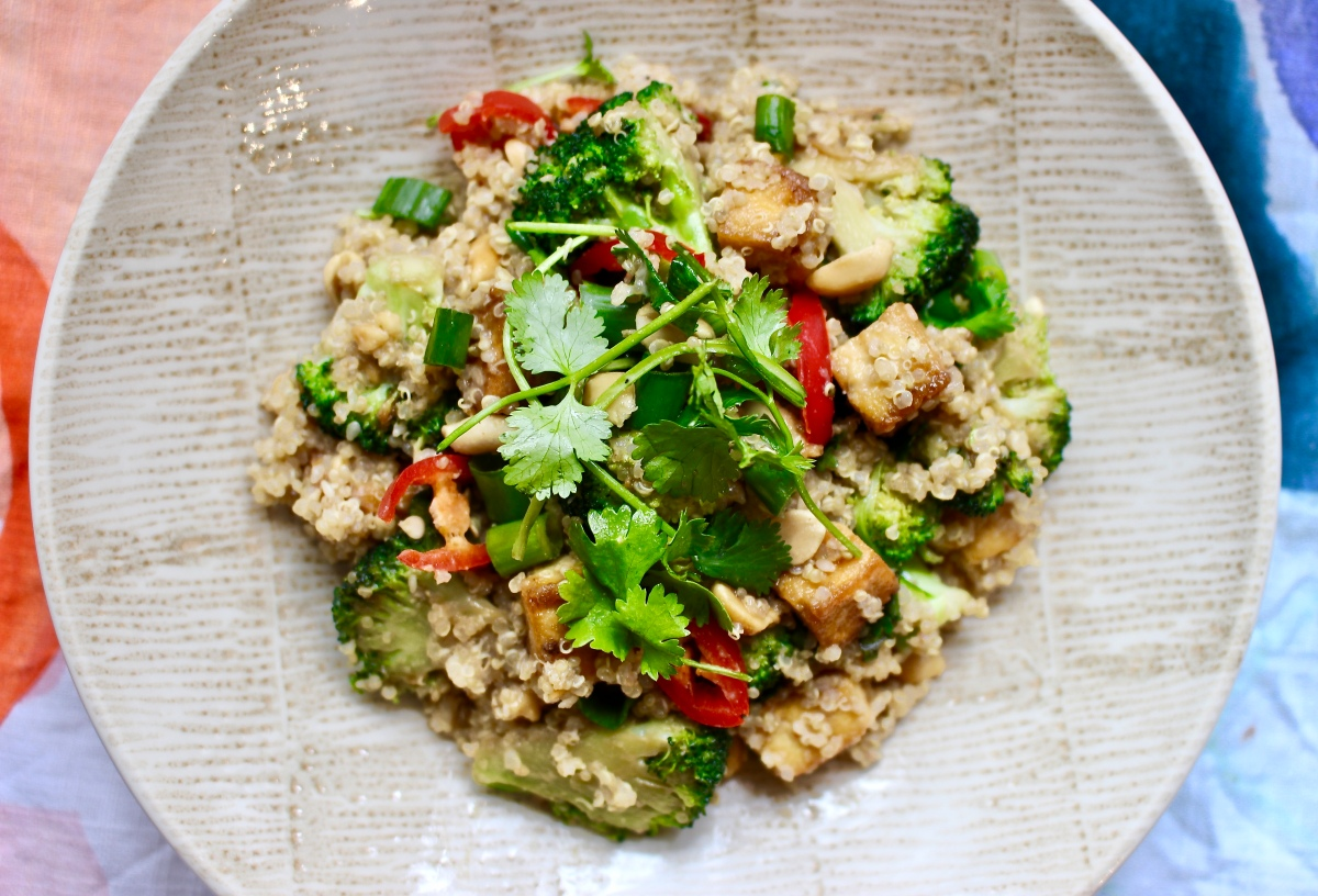 Tofu, Broccoli and Quinoa Salad with a Peanut and Sesame Dressing!
